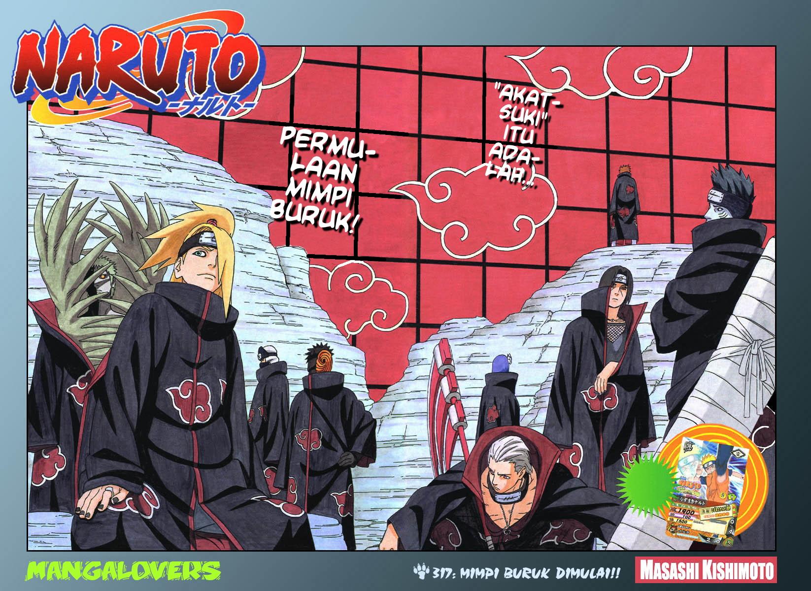 Komik Naruto chapter 317 Bahasa Indonesia : Mimpi Buruk di Mulai